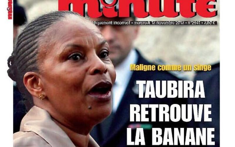 Le magazine «Minute» condamné pour sa Une associant Taubira à un singe
