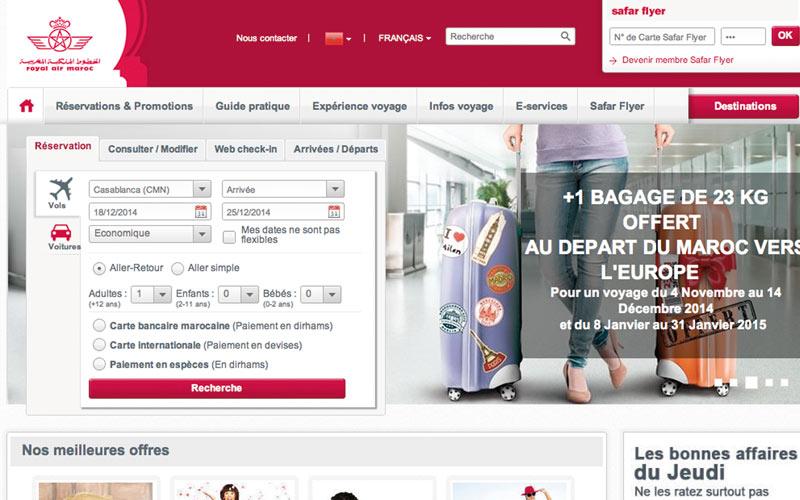 Royal Air Maroc primée pour son site web