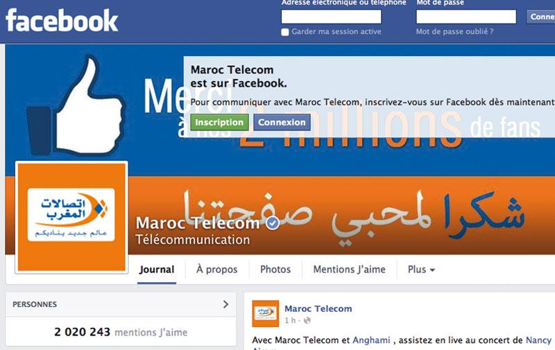 Maroc Telecom affiche sa fierté 2 millions de fans marocains  sur Facebook