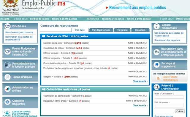 Lancement du site de l emploi public : Le portail informe du détail de 12.201 postes  sur les 18.355 composant sa 1ère livraison