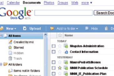 La suite en ligne Google Docs