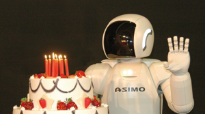 Honda Asimo : 10 bougies sur un gâteau