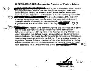 Alger avait proposé l'autonomie au Sahara en 1985