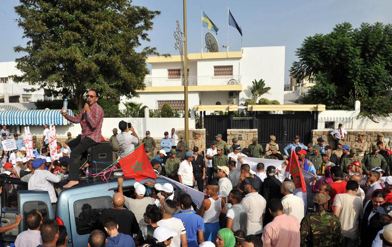 Sahara Marocain : Manifestation devant l'ambassade de Suède à Rabat
