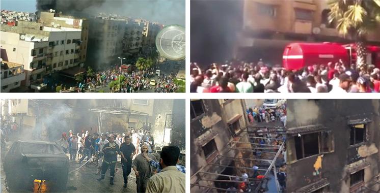 Salé : Un grand incendie ravage un magasin de mobilier, un immeuble de trois étages et deux voitures