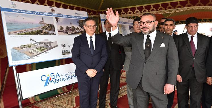 Casablanca : SM le Roi lance les travaux de la promenade maritime de la Mosquée Hassan II