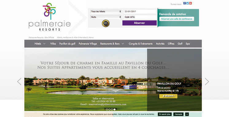 Un nouveau site web pour Palmeraie Resorts