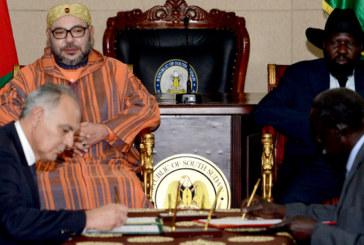 Mohammed VI et le Chef de l'Etat sud-soudanais président la cérémonie de signature de neuf accords bilatéraux