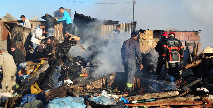 Un incendie dans un bidonville ravage près de 300 habitations  à Aïn Aouda
