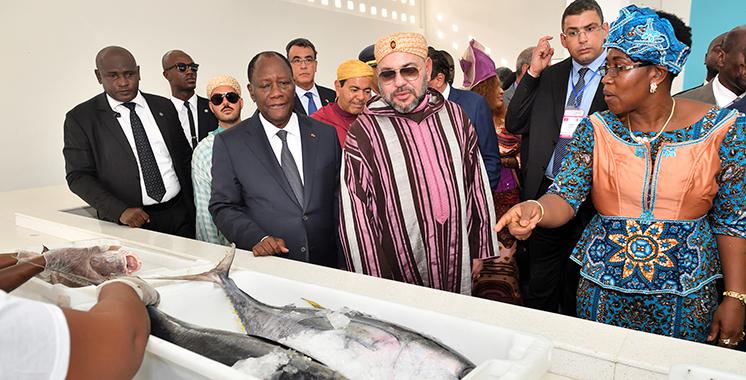 SM le Roi et le Président ivoirien ont inauguré le point de débarquement de pêche «Mohammed VI» de Locodjro