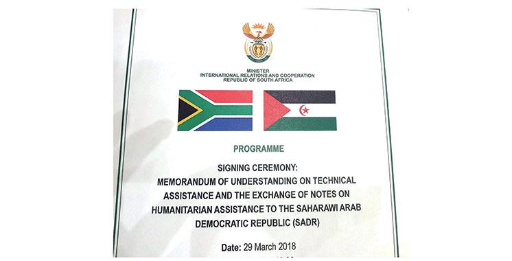 L'Afrique du Sud persiste et signe : Elle a signé un accord avec le Polisario le 29 mars