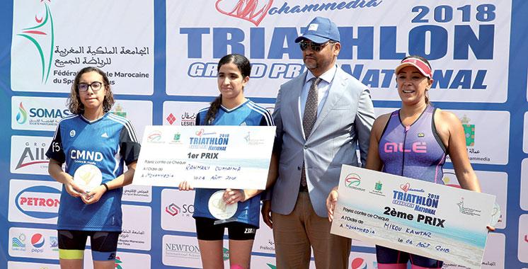 Grand Prix national du triathlon : Sadik Mehdi et Rahmani Oumaima s'imposent  à Mohammedia