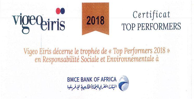 Selon l'agence de notation extra-financière Vigeo Eiris : BMCE Bank of Africa est «Top Performers RSE 2018» pour la 5ème année consécutive