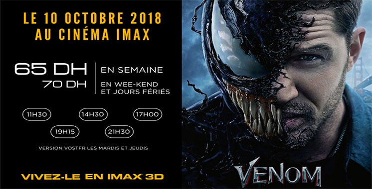 Projection du film «Venom» à l'Imax Morocco Mall à partir du 10 octobre