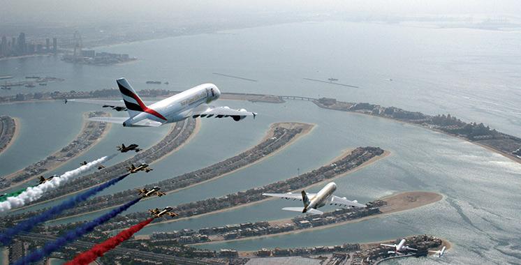 Un avion spécial A380 d'Emirates «Year of Zayed» atterrit au Maroc