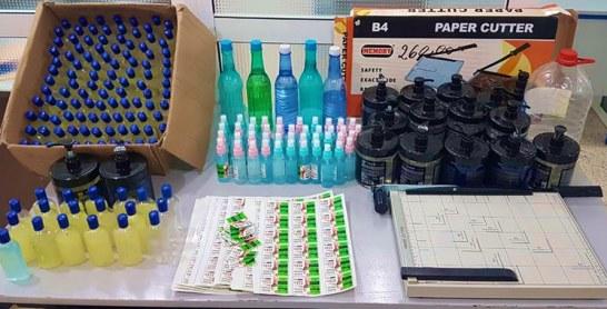 Arrestation de quatre personnes soupçonnées d'avoir aménagé un atelier pour la préparation et la fabrication de produits de désinfection