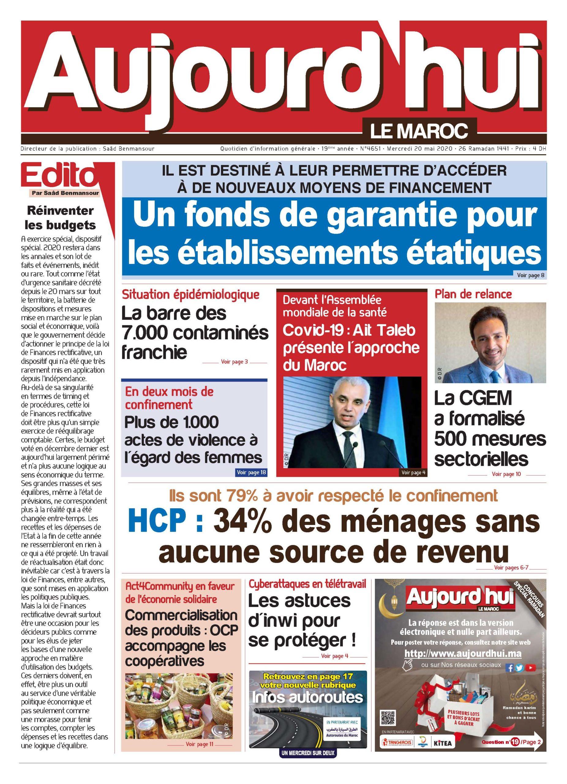 Journal Électronique du Mercredi 20 Mai 2020