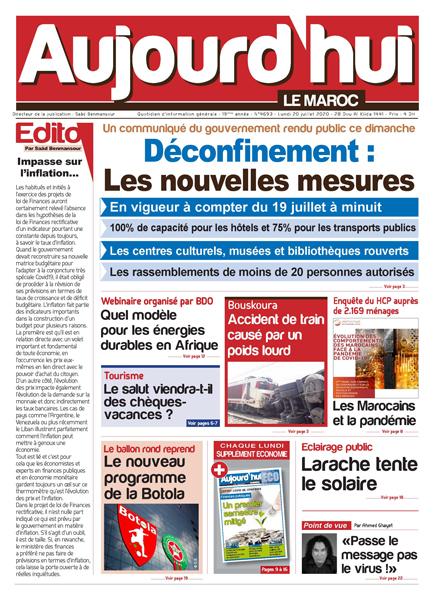 Journal Électronique du Lundi 20 Juillet 2020