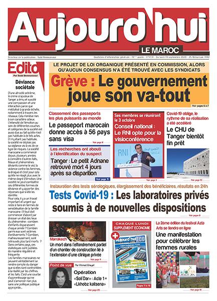 Journal Électronique du Lundi 14 Septembre 2020