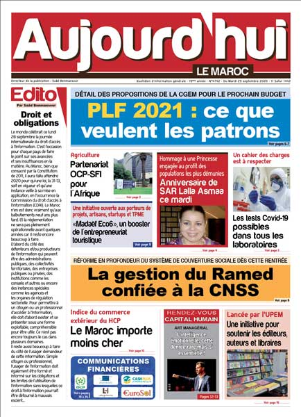 Journal Électronique du Mardi 29 Septembre 2020