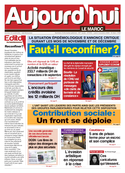Journal Électronique du Lundi 2 novembre 2020