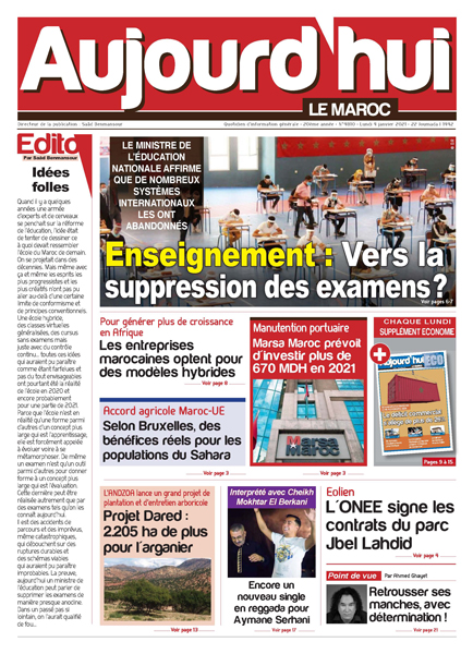 Journal Électronique du Lundi 4 Janvier 2021