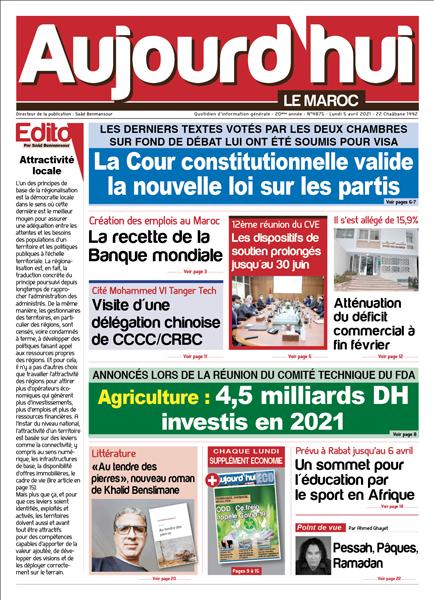 Journal Électronique du Lundi 5 Avril 2021