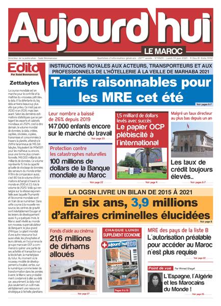 Journal Électronique du Lundi 14 juin 2021