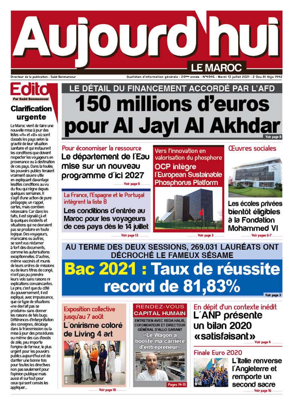 Journal Électronique du Mardi 13 Juillet 2021