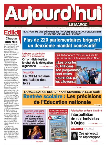 Journal Électronique du Lundi 30 août 2021