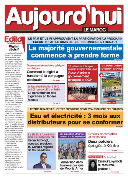 Journal électronique du Lundi 20 septembre 2021