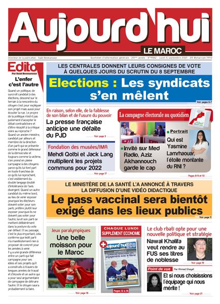 Journal électronique du Lundi 6 septembre 2021